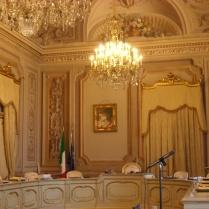 La sala delle udienze a Palazzo della Consulta a Roma