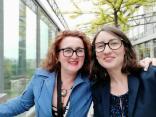 Con Daniela sulla terrazza della sala stampa, dopo il discorso di Emmanuel