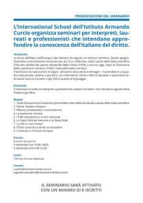 I temi del Seminario di italiano giuridico